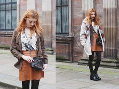e82ddec01 Hannah Louise SF | clarks Orla Kiely boots Brown Leather Skirt, Khaki  Shirt, Teddy