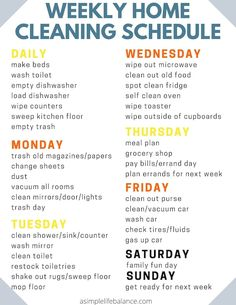 Household Cleaning Schedule, House Cleaning Checklist, Diy Cleaning Products, Cleaning Solutions, Weekly Cleaning Schedule Printable, Apartment Cleaning Schedule, Cleaning Schedule Templates, Cleaning Tips For Home, First Apartment Tips