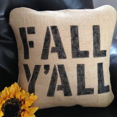 Fall Y'all Burlap pillow case decor pillow by TheCraftExchange