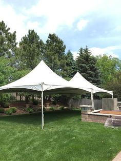 Here is what one of our high-peak 20X40 frame tents would look like set up in a backyard!