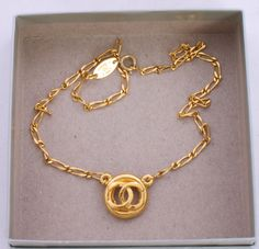CHANEL Gold Chain Link Necklace