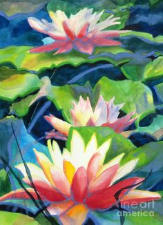Painting Painting - Styalized Lily Pads 3 by Kathy Braud
