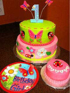 Garden Themed 1st Birthday cake (butterfly, ladybug)