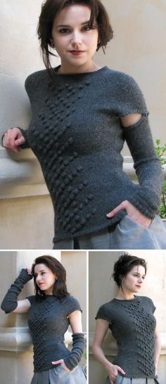 Free knitting pattern for Camden Top with convertible removable sleeves