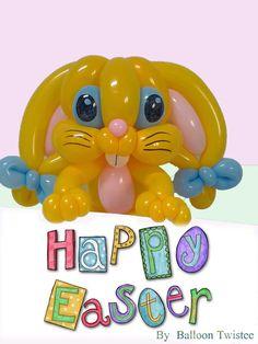 neusje 2 pichtwists met klein roze tussen. leuke strikjes aan oortjes  Happy easter balloon rabbit made by Balloontwistee