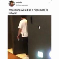 he's jung what do you expect? Shinee, Monsta X, Sans Cute, Jung Woo Young, Just Video, Boy Idols, Funny Kpop Memes, Big Bang, Kim Hongjoong