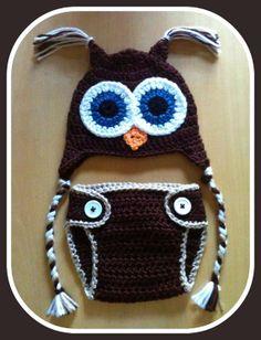 Newborn Baby Boy BROWN Crochet OWL with Braids n BROWN Diaper Cover -n- Beanie Hat Set -- Cute Photo Prop
