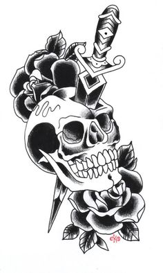 Free Dagger Skull And Black Roses Tattoo Designs