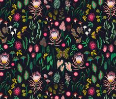 leaf_and_floral_study_dark fabric by holli_zollinger on Spoonflower - custom fabric