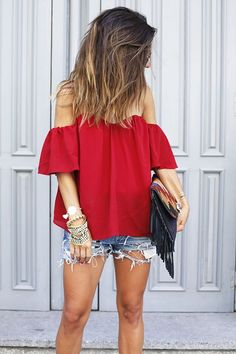 Beautiful off shoulder blouse   tops     ladies tops     trendy tops     fashionable tops   #tops https://www.loveandspring.com/