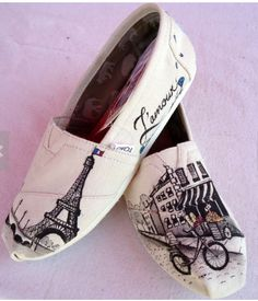 Gifts for Teens inspired by Paris:  Paris Themed TOMS by The Liberty Lama @ Etsy