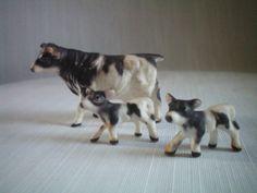 SALE Miniature Cow Family  Bone China by WhiteShepherd on Etsy, $26.00