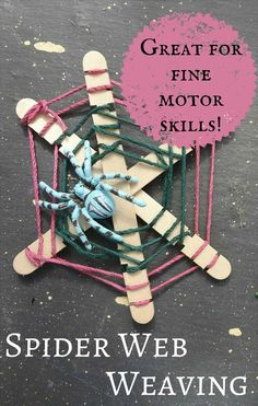 Weave your own spider web - a great fine motor activity for Halloween!