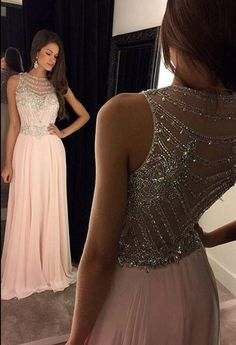 a6ea035642e A-Line Crew Neck Floor-Length Pink Prom Dress with Beading. Prom Dresses  Long ModestSparkle ...