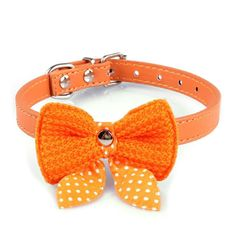 Sikye Puppy Dog Knit Bowknot Adjustable PU Leather cat Collars Necklace * Remarkable product available now. (This is an amazon affiliate link. I may earn commission from it)