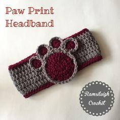 Paw Print headband by Ramsileigh Crochet