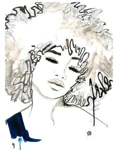 Print from Watercolor and Pen African American Fashion Illustration, Jessica Durrant, - The Afro via Etsy-pin it by carden African American Fashion, Natural Hair Art, Graffiti Artwork, Afro Art, Black Women Art, Oeuvre D'art, African Art, Love Art, Female Art