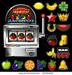 A slot fruit machine with cherry winning on cherries and Various slot fruit machine icons - stock vector