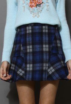 Blue Tartan Wool Felt Frill Hem Skirt - New Arrivals - Retro, Indie and Unique Fashion