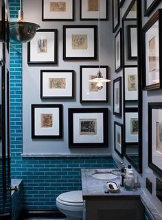 Turquoise blue subway tiles + black frame art gallery + pendant lighting in powder room design by Steven Gambrel Decor, Bathroom Gallery, Bathroom Pictures, Interior, Gambrel, Home, Decor Design, Gallery Wall, Interior Design