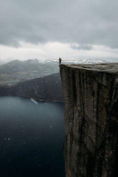 On the edge, Pulpit Rock (Preikestolen), Norway