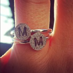 Minitials AEON diamond rings 18k yellow, rose and white gold