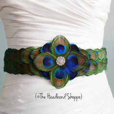 WINDSOR  Peacock Belt Bridal Sash Made from by TheHeadbandShoppe, $190.00