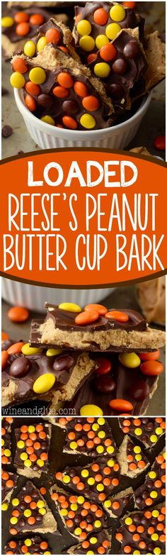 This Loaded Reese's Peanut Butter Cup Bark is BURSTING with the perfect flavor combo but it's a bark so it's way easy!:
