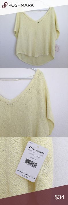 FLASH SALE!! Free people short sleeve sweater Oversized short sleeve sweater. New with tags. V neckline. Lemon curd color. Free People Tops