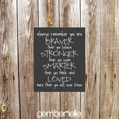 Always Remember You Are Braver Than You Believe | Nursery Art | Wall Art | Subway Art | 5x7 | 8x10 | 11x14 by gemberlelie on Etsy