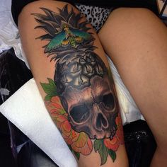 Pineapple skull Dalmiro Tattoo Dalmont