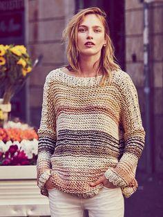 Free People Awash in Stripes Pullover at Free People Clothing Boutique Girls Sweaters, Sweaters For Women, Knit Cardigan Pattern, Free People Clothing, Knit Fashion, Sweater Weather, Crochet Clothes, Knitwear, Knitting Patterns