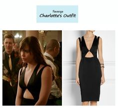 "On the blog: Charlotte Grayson's (Christa B. Allen) black cutout dress | Revenge – ""Addiction"" (Ep. 317) #tvstyle #tvfashion #outfits #fashion #LBD"