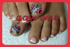 Uñas hermosa Pedicure Designs, Toe Nail Designs, Cute Pedicures, Summer Toe Nails, Toe Nail Art, Polish, Beauty, Ideas, Toenails