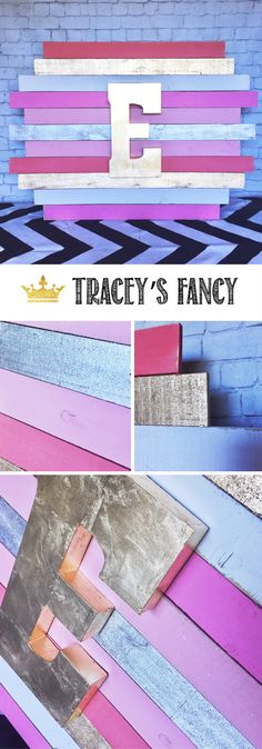 Gorgeous Girls Nursery Art Ideas by TraceysFancy.com - Customize by colors and monogram letter. Personalized Wood Plank Art + Nursery Ideas + Nursery Decor + Children's Rooms + Pink + Metallic + Gold