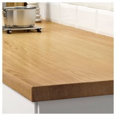 KARLBY Countertop for kitchen island, oak, veneer, This wood countertop combines the best of solid wood and veneer. With efficient use of natural resources, it offers a unique pattern and a durable surface that can be sanded. Kitchen Island Oak, Kitchen Worktop, Karlby Countertop, Wood Countertops, Wet Rooms, Wide Plank, Work Tops, Traditional Kitchen, Wood Veneer