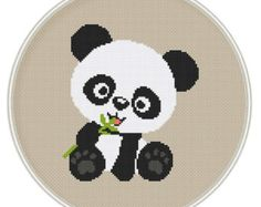 Cross stitch pattern, Counted cross stitch pattern, Free shipping, Cute panda bear
