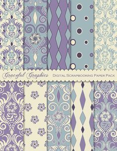 Scrapbook Paper Pack Digital Scrapbooking Background Papers DAMASK 10 8.5 x 11  EXOTIC Flower BLUE Purple Gray Brown White Red 1854gg