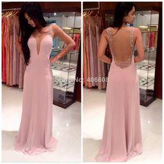 2014 Free Shipping New Arrival Vestidos De Fiesta Nude Back Long Chiffon Formal Evening Dress Women Gown $135.00