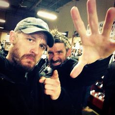 "tomhardyvariations:  New Tom and Paul selfie (""Hands up!!!!!"") from PA via Thaac.  Random info: in The Revenant (if the screenplay follows the novel), Tom is playing a fugitive mercenary named John Fitzgerald, and Paul (as per imdb) is playing a character named..Anderson. :) For anyone interested, Publisher's Weekly has a good summary of the story — ""a spellbinding tale of heroism and obsessive retribution."""