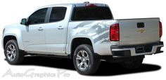 """2016-2017 Chevy Colorado """"ANTERO"""" Rear Side Truck Bed Mountain Scene Accent Vinyl Graphics Stripes Kit Vinyl Graphic Stripe Decal Kits Vehicle Specific Accent Striping Decals Packages 