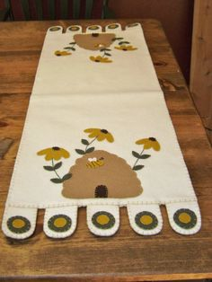 Bee Skep Coneflower Penny Rug Table Runner by oldecountrystrokes, $30.00