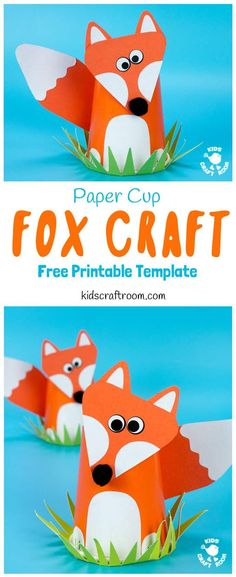 CUTE PAPER CUP FOX CRAFT FOR KIDS. Fox crafts are so fun and this paper cup craft is easy to make with the free printable fox craft template. Such a fun woodland animal craft. Arts And Crafts For Teens, Art And Craft Videos, Creative Arts And Crafts, Animal Crafts For Kids, Crafts For Kids To Make, Arts And Crafts Projects, Toddler Crafts, Preschool Crafts, Creative Activities For Kids