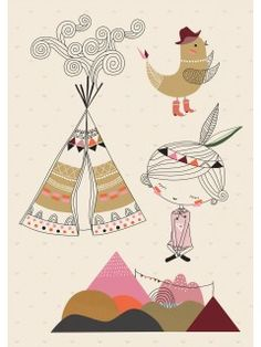 """Poisson Bulle: Swantje & Frida A3 Wall Sticker """"Tipi Fille"""""""