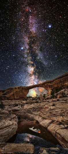 "(Like most of my images, this composition is best viewed on black...just click on the image to see it on black)  This is my newest composition, it is entitled ""Ascension."" I captured this composition under the brightest and deepest Milky Way that I have ever witnessed in my life during a recent trip to Natural Bridges National Monument in south central Utah about a week ago.   This night was a beautiful evening that I got to share with my dog and my muse, the Dude. And I think that ..."