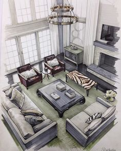17 Mesmerizing and Detail Architectural Drawing - Interior design - [post_tags Rendering Interior, Interior Architecture Drawing, Interior Design Renderings, Drawing Interior, Interior Sketch, House Architecture, Home Interior Design, Modern Interior, Indian Architecture