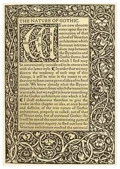 'The Nature of Gothic', Kelmscott Press 1892 (Title Page from 'The Stones of Venice' by John Ruskin)