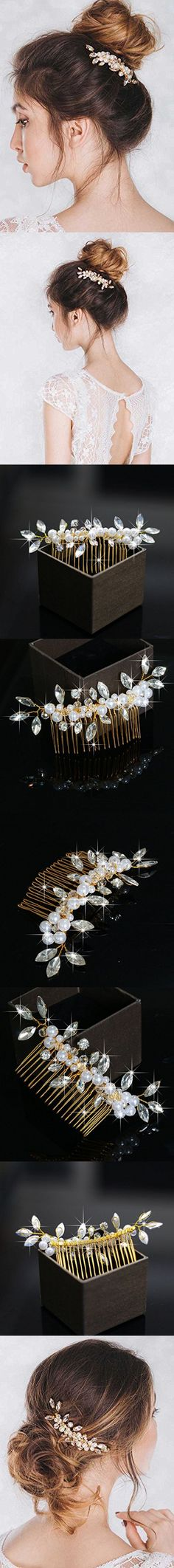 Venusvi Vintage Wedding Hair Combs with Bead and Rhinestones for Women
