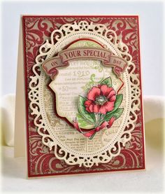 Your Special Day card designed by Debbie Olson uisng Botanical Medallions and Labels, Fleuriste Newsprint Background Stamp, JustRite Custom dies - Oval Medallion Die, and Banner Die from Vinatge Label and Banner dies.