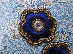 2 x deep blue silk bullion and beads embellishment by baubletjes $5